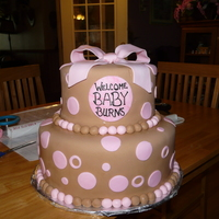 Baby Shower Cake   my first real go at a fondant cake with bow. thought i turned out pretty good