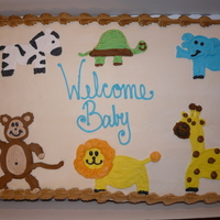 Safari Baby Shower i drew the animals free-hand and iced everything in buttercream icing