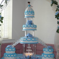 Quinceanera Cake  huge cake! i had to have my husband help me set it up! every layer was a different flavor. buttercream icing and the dress matched her...