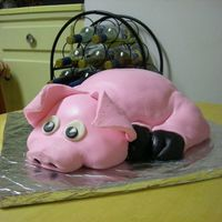 Birthday Pig  a birthday cake for two prize winning BBQ guys. Chocolate cake, chocolate pastry cream filling and fondant icing. All real just cake and...