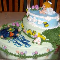 Fairy Garden Side View Marble cake (16 cups) b/c icing and fondant and b/c decorations. Tinted gel for the water.