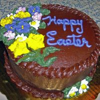 Easter Cake/fudge With Royal Flowers Devils food cake with Fudge BC and Royla Flowers
