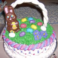 Easter Basket Easter basket B/C with Devils food, Fondant handle, basket weave.