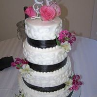 Black & White Wedding Cake 6-8-10-12 covered in buttercream with real ribbon and flowers. TFL!