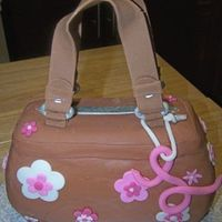 Pink & Brown Purse Carved from 1/4 sheet for a bridal dinner. Covered with fondant. TFL!