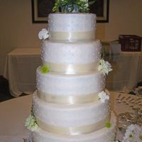 Simple Ivory Wedding Cake 8-10-12-14-16 rounds. All buttercream with satin ribbon and fresh flowers. Biggest cake I have ever made. This beast served around 300 with...