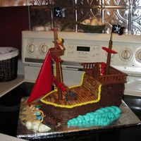 Pirate Ship Birthday Cake  I used the pirate ship birthday cake kit to make this for my son's best friends birthday last weekend. I was in a hurry and would have...