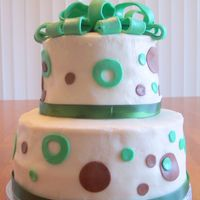 Green And Brown Birthday Cake This is my first stacked cake. I made it for a friend's birthday party. It was a bit of a disaster, I had gotten the icing so smooth...