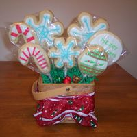 Christmas Cookie Bouquet One of my first cookie bouquets! I made these for Christmas presents this year.