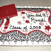 Randi's Graduation Cake  Randi liked the my bridal shower cake so much she told her mom I needed to do her graduation cake. Her mom wante cap and tassle in red,...