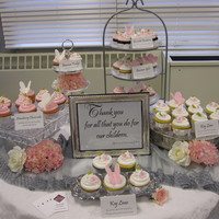 Cupcake Buffet For Teacher Appreciation made this display of cupcakes for teacher appreciation day at middle school. all gourmet filled cupcakes (key lime with raspberry, banana...