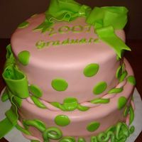 Laura's Graduation 2007 French vanilla cake w/ bavarian cream filling, iced in whipped cream cheese and covered in MMF w/ MMF accents.. Not my design she gave me a...