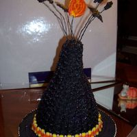 Witch Hat  Not a very good picture, but this was my attempt at Collette Peter's witch hat cake. It was a lot of fun to do and everyone was wowed...