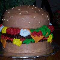 Hamburger Cake I did this cake for my 15 year old nephew because his favorite food is hamburgers. This is my first attempt at a hamburger cake. It is a...