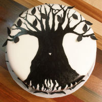 Reunion Cake   Reunion cake with family tree painted on white fondant