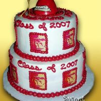 Pitt State Graduation Cake This two tier graduation cake was done for a Pittsburg State Univeristy Graduate. I got the 2 tier idea from Sugar Creations: http://www....