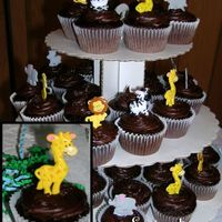 Jungle Cupcakes Some cupcakes decorated for a jungle themed baby shower. A close up of one...kinda blurry...but you get the point. Chocolate on chocolate...