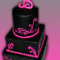Black With Pink Accents   Square & Round, Black BC frosting with pink accents. B topper made from fondant and wire.