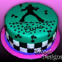 Dancing Elvis   50's inspired Elvis Birthday Cake covere with MMF & BC accents.