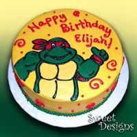 Ninja Turtle Birthday Cake This 10 inch round Ninja Turtle Cake was very fun to decorate! I am a fan of the turtles from way back! I hope he liked it!
