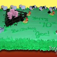 Farm Sheetcake This was a sheet cake decorated for a Farm Birthday. I used BC for the grass on the sides as the trim, smashed cookies for the pig pin, and...