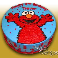 Elmo Birthday Cake  This 12 inch round Elmo cake was decorated for a little boy, Trevor! I like the texture I did with the frosting of Elmo's fur. This...