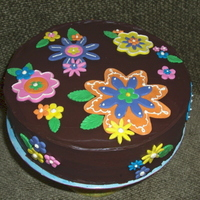 Chocolate Garden   Chocolate grand marnier ganache with MMF flowers