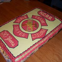 "Fireman_Retirement.jpg Thanks to Gibsongirl and ddpie for inspiration! 14x22"" chocolate raspberry sheet cake, with layer of chocolate ganache beneath French..."