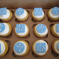 Jackson's Baptism Created these cupcakes for a client who was baptizing her first born. She asked me to decorate some with crosses and some with the baby&#...