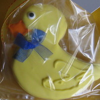 Rubber Ducky Sugar Cookie These were done as party favors for a 1year old's birthday party. The theme was rubber ducky and the colors were yellow and cobalt...