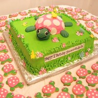 Turtle Cake Turtle cake with turtle cookies in the background. Baked the turtle shell in a pyrex bowl, arms and feet are fondant. Head is RKT covered...