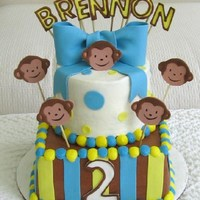 "Mod Monkey Boy 8""/6"" Buttercream covered with fondant decorations. Make to match mod monkey party ware."