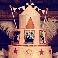 Circus Themed Wedding This is a cake I did for a circus themed wedding. It was inspired by a birthday cake on this site by heatherscakes. Buttercream iced,...