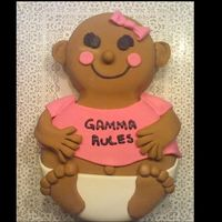 Gamma Rules Gramma shower for woman at work . It is her 1st grandchild. Very simple design . Just two rounds different sizes covered in fondant. It was...