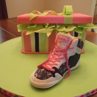 """pastry"" Sneaker And Shoebox Birthday Cake My DGD loves Pastry sneakers, so I made her a sneaker with a shoebox cake. The sneaker is carved styrofoam because she wanted to keep it...."