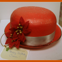 Red Hat White cake, lemon filling. Buttercream icing. Gumpase brim.
