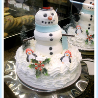 Snowman White cake, buttercream icing,
