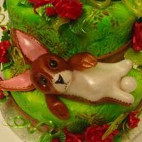 Blown Sugar Bunny A velveteen rabbit inspired water colour themed cake with blown and pulled sugar pieces.