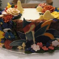 Course 2 Final This was my course 2 final cake, I didn't like the weird bird so, hence the fairy and the little mushrooms. My poor fairy broke apart...