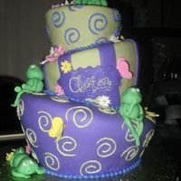 First Stacked, And First Topsy-Turvy My friend and I made this baby shower cake for a friend of ours. Covered in MMF, decorations in fondant and gumpaste. Thanks to all the...