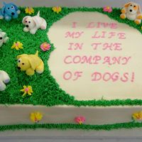 Dog Rescue Birthday Cake This cake was done for a woman who works for a dog rescue place. The puppies are fondant figures and the cake is buttercream iced and...