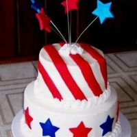 Stars And Stripes This was a 2-layer cake, for a 4th of July party. Iced in buttercream and accents are fondant. Top layer of cake is white with a raspberry...