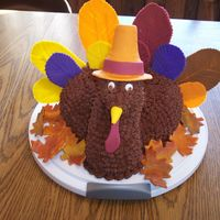Gobble, Gobble! Thanksgiving turkey cake/ centerpiece. Chocolate buttercream icing with fondant accents. Everyone LOVED this, but I was disappointed...
