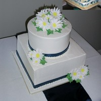"Daisies & Blue Marble Cake  This wedding cake was a lot of ""firsts"" for me! Made the topper from a styro ball cut in half and covered in fondant, gumpaste..."