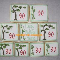 Asian-Inspired Cookies For 90Th Birthday  A client asked me to create an Asian-inspired design of cookies for her grandfather's 90th birthday. I did them with bamboo and bonsai...