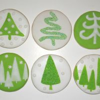 Green And White Christmas Cookies Here are my simple green and white Christmas cookies. They are NFSC with royal icing and sanding sugar.