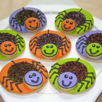 Happy Spider Cookies These are NFSC with royal icing. I wasn't happy with my choice of spider cutters,so I just used a circle cutter, can't get any...