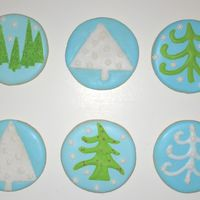 Blue, White And Green Christmas Cookies Here are my blue, green and white themed simple Christmas cookies. NFSC with royal icing and sanding sugar.