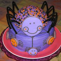 Happy Spider Cake I made this cake for my DD's Girl Scout troop party today. Buttercream icing withdecorated sugar cookie spiders. Black details are...