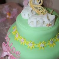 Princess Khloe Chocolate cake with resses pieces filling. Sandals and tiara made out of fondant except for the ribbon